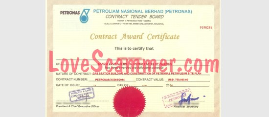 Certificates like this are sometimes used in a 419 scam.