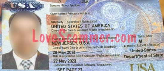 A stolen passport used by a scammer.